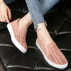 Shoes - Pink Laser Cut-Out Slip On Sneakers